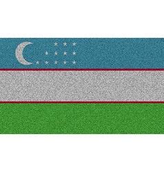 Flags Uzbekistan on denim texture vector image