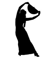 Flamenco dancer with a fan vector