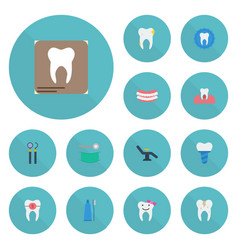 Flat icons decay brace stomatology and other vector