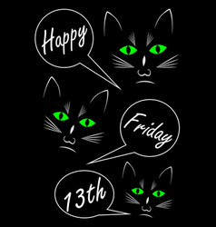 Friday 13th three black cats on black background vector