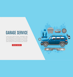 Garage auto service and car spares top view web vector