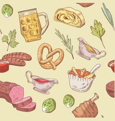 German food hand drawn seamless pattern vector