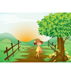 Girl and landcape vector