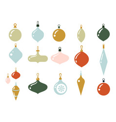 Glass multi-colored balls for christmas tree vector