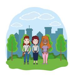 group women cartoon vector image