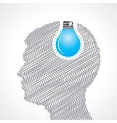 Hand drawn man s face with bulb in his head vector image
