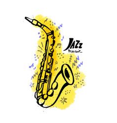 hand drawn saxophone jazz music concept ink vector image