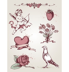 hand drawn vintage elements for valentines day vector image