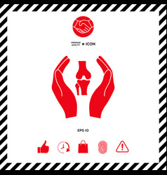 Hands holding knee-joint - protection icon vector