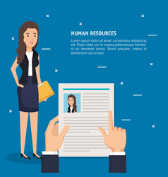 Hands with curriculum vitae and woman vector