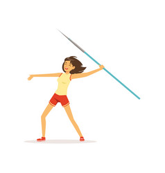 Happy girl taking part in javelin throw vector
