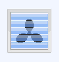 image of a fan behind a glass lattice flat pattern vector image