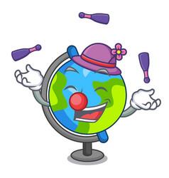 juggling globe mascot cartoon style vector image