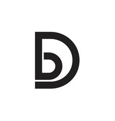 letter bd simple linked line logo vector image