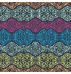 linear detailed ethnic pattern with bright stripes vector image