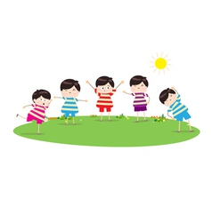 little children doing morning exercises vector image