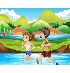 Man and woman jogging in park vector
