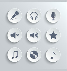Media icons set - white round buttons vector image