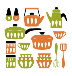 Mid century modern kitchen poster collection vector