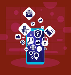 mobile app network applications icons social media vector image