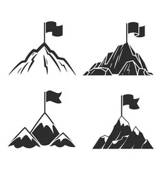 Mountains with flag symbol success business vector