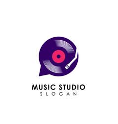 Music chat logo design template vinyl disc icon vector