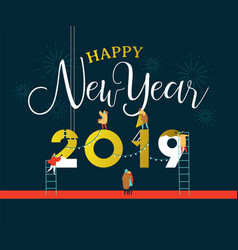 new year 2019 card of people in celebration party vector image