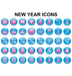 New Year holiday icons vector image