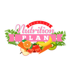 Nutrition plan logo badge symbol label for diet vector