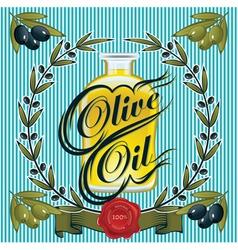 Olive oil sprigs olives and stamp vector