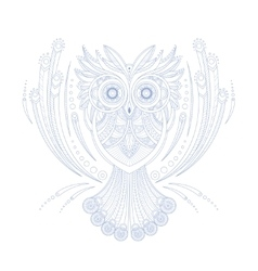 owl stylized doodle zen coloring book page vector image