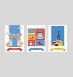 paris pattern french culture eiffel tower and vector image