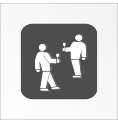 People icon Two persons with drinks Meeting vector image