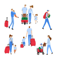people walking with luggage vector image