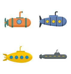 Periscope submarine telescope icons set vector