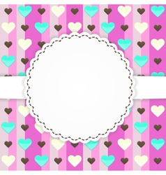 Pink greeting card template with hearts vector image