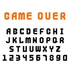 Pixel retro font video computer game design 8 bit vector