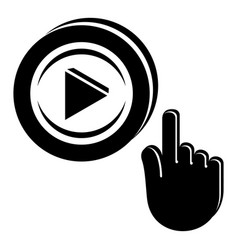 play video icon simple black style vector image
