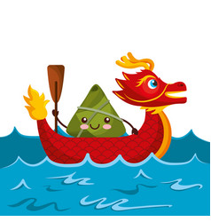 Red dragon rice dumpling paddling sea festival vector