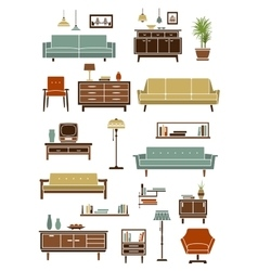 Retro furniture with interior accessories vector image vector image