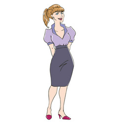 Retro office lady vector