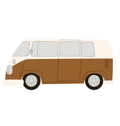 retro van can traveling on pickup caravan vector image