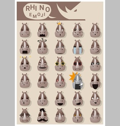 Rhinoceros emoji icons vector