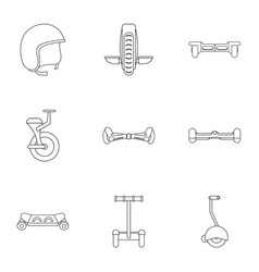 Segway icon set outline style vector