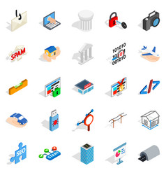 seo optimisation icons set isometric style vector image