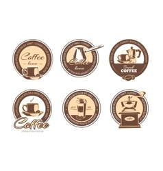 Set of monochrome coffee emblems labels vector