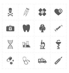 sixteen flat medicine icons vector image