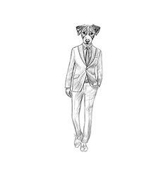Sketch Jack Russel Terrier in Hipster Suit Hand vector image