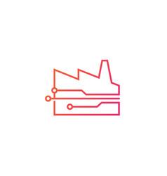 Smart factory tech logo icon vector
