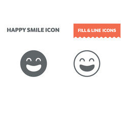 smile icon fill and line flat design ui vector image